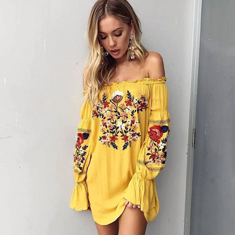 Summer Boho Embroidery Floral Beach Dress Chiffon Mini Women Yellow Off Shoulder Flower Short Dress Lantern Long Sleeve Bohemian