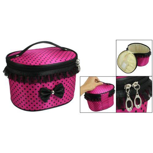 Comercio al por mayor 10 * Rosallini Señora Fucsia Polryster Dots Imprimir Zipper Maquillaje Cosmético del Bolso