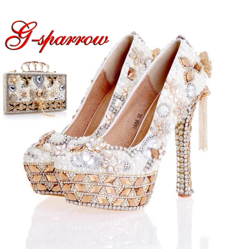 Newest Design White Pearl Wedding Shoes with Matching Bag Gorgeous Handmade High Heels Women Crystal Bridal Shoes Plus Size 12