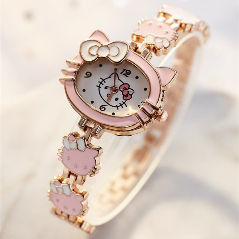 2019 New Relojes Cartoon Children Watch Fashion Kids Cute Stainless Steel Quartz Watch Girl Pink Bracelet Wristwatches Gifts(China)