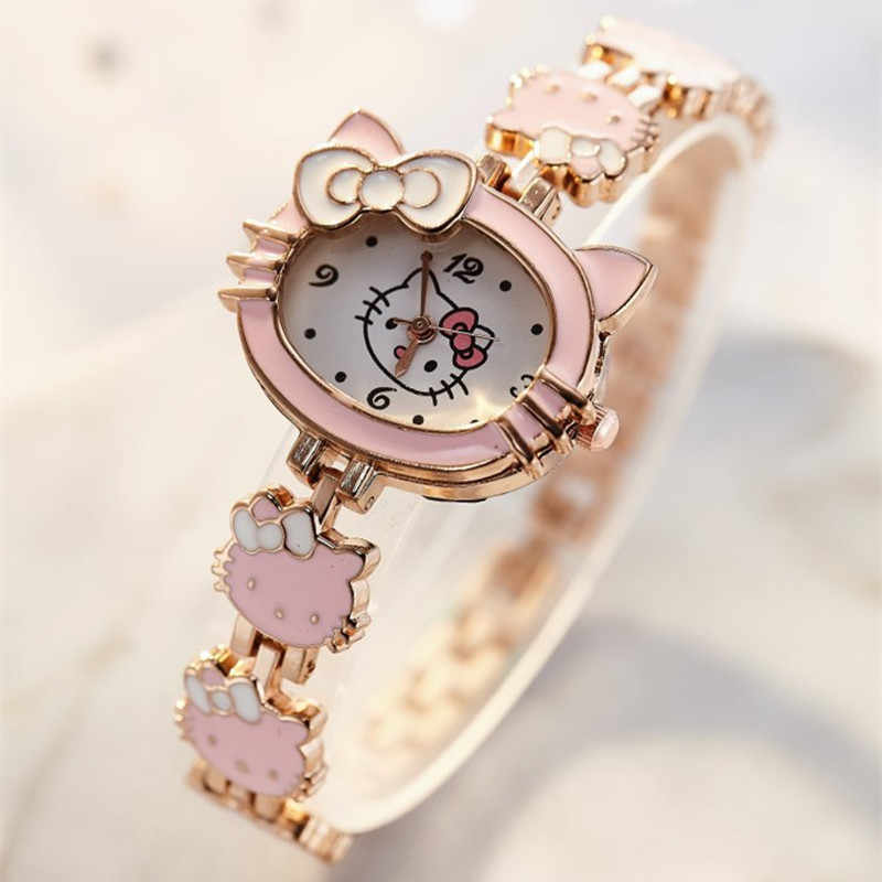 2019 New relojes Cartoon Children Watch Fashion Kids Cute Stainless steel quartz Watch Girl Pink Bracelet Wristwatches Gifts