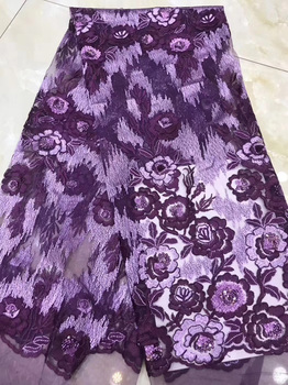 5 colors fine work embroidered French net lace fabric with sequins purple African tulle lace high quality for party  FZZ234
