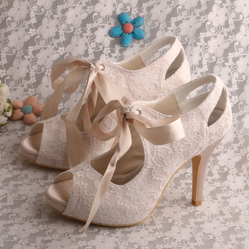 Wedopus Custom Handmade 2016 New Open Toe Wedding Bridal Nude Lace Fabric Shoes High Heels 20 colors wedopus custom handmade large size bow bridal shoes ivory low heel peep toe