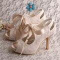 Wedopus Custom Handmade 2016 New Open Toe Wedding Bridal Nude Lace Fabric Shoes High Heels