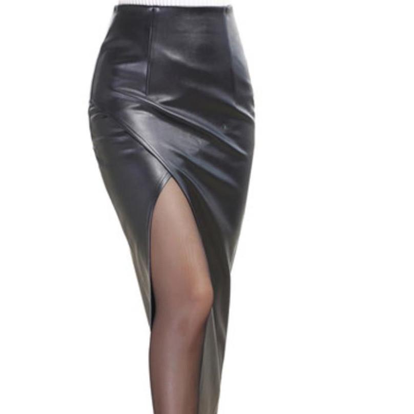 New skirt split sexy high waist pu leather skirt plus size image