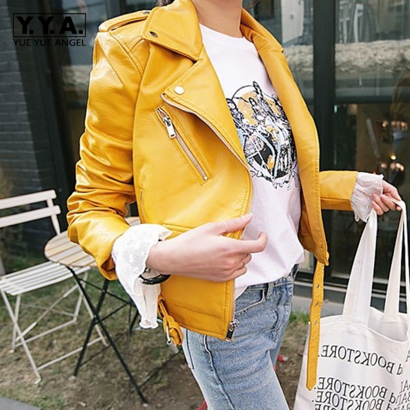 Korean Moto Biker Slim Womens Faux   Leather   Jackets Long Sleeve Lapel Sashes Fashion Big Size PU   Leather   Short Coats Streetwear