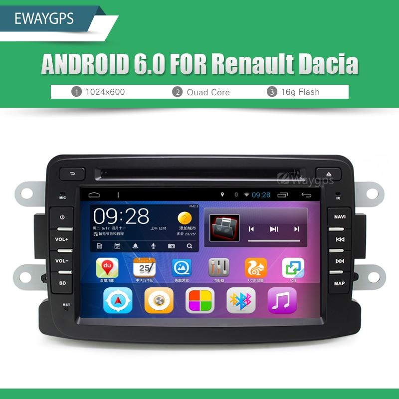 Android 6.0 QuadCore Car DVD Player Radio For Renault Duster Dacia Sandero Logan Bluetooth GPS wifi Navigation EW896P6QH адаптер рулевого управления connects2 ctsdc001 для renault duster sandero 2010