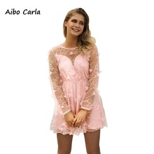 Aibo Carla Women Fake 2 Pieces Lace Mesh Embroidery Sweet Pink Patchwork  Mini Dresses 25a330adb137