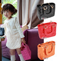 Fashion princess handbags High quantity PU patent leather baby girls tote plaid messenger bags for children girls accessories