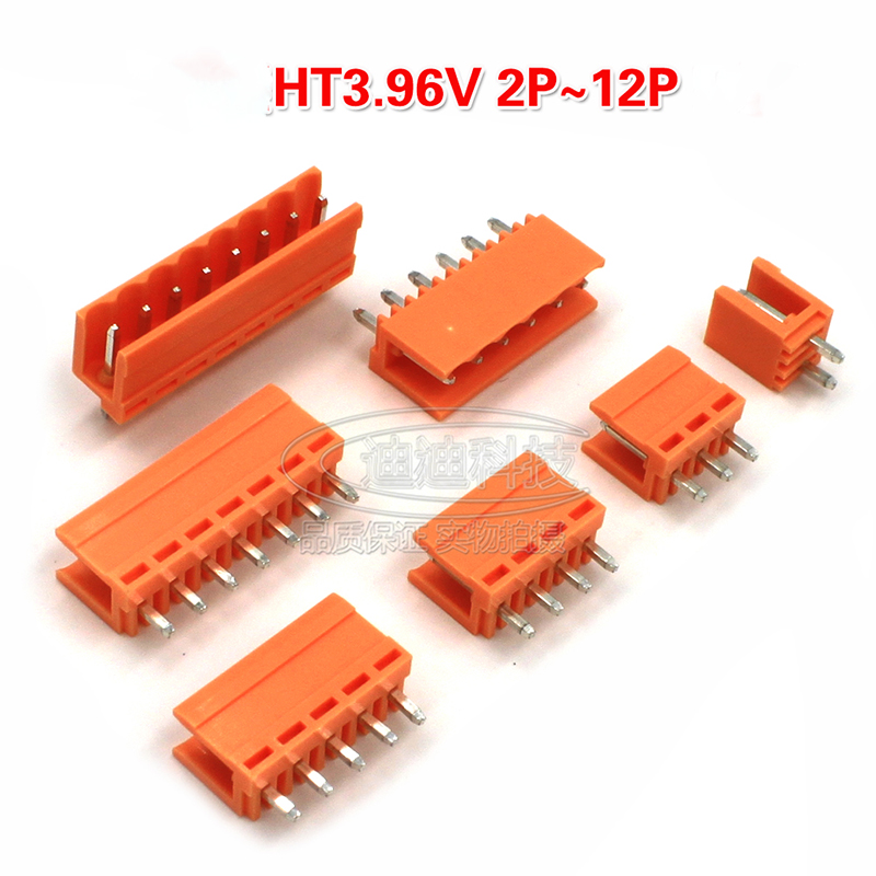 100pcs/lot The plug-in PCB terminal HT3.96R/V straight pin is orange 2P~12P