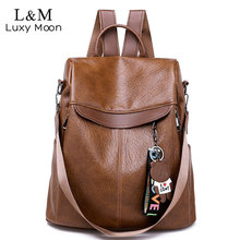 Brown Women Backpack Leather School Bags For Teenage Girls Casual Large  Capacity Multifunction Retro Travel Rucksack 016ddfd276d61