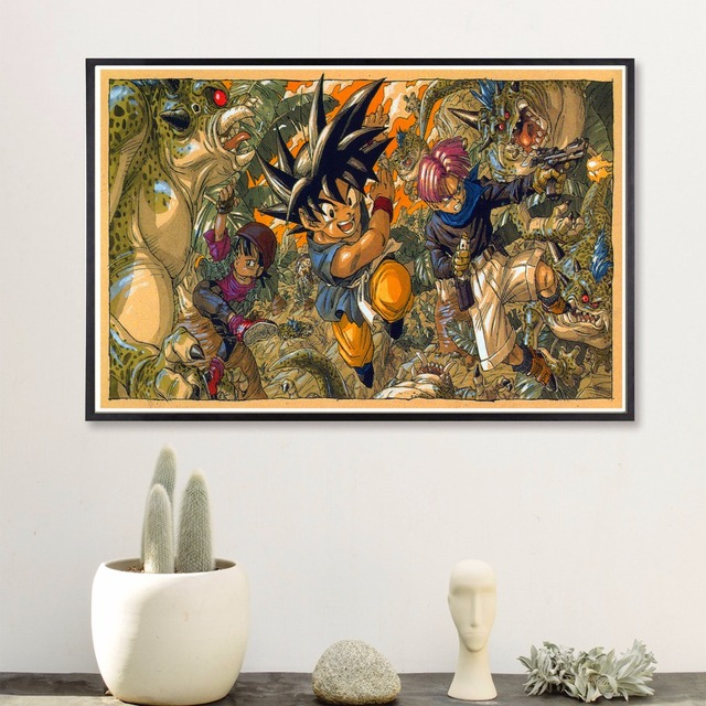 Retro Dragon Ball Z Comic Art Print Painting Fabric Poster Wall Pictures For Living Room Home Decoration Decor No Frame