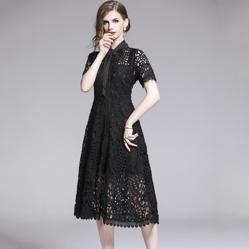 Elegant White Black Lace Hollow Out Dress 2