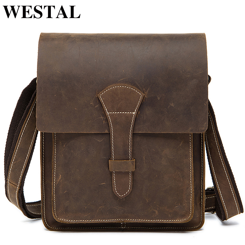 WESTAL genuine leather men's shoulder bag messenger bag men's cover crossbody vintage male zipper flap bag for men handbag  1093