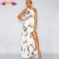 Women S Floral Print Halter Bandage Long Dress Strap Hollow Out Split Beach Summer Dress Sexy