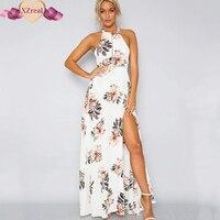 여성 꽃 맥시 드레스 긴 보헤미안 고삐 붕대 스트랩 중공 분할 여름 비치 드레스 섹시한 등이없는 Sundress Vestidos