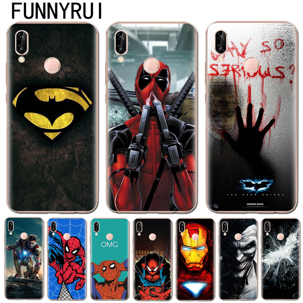 <font><b>Marvel</b></font> Superheroes Batman SpiderMan Iron man Soft TPU Silicone <font><b>Cover</b></font> For <font><b>Huawei</b></font> P8 P9 <font><b>P10</b></font> P20 <font><b>Lite</b></font> Pro 2017 Cases Joker Deadpool image