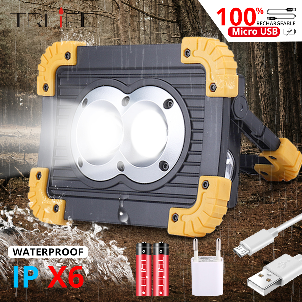 Lampe 100W COB Portable Spotlight Lantern 2 Size USB Work Lamp 18650 Floodlight Camping Power Bank Searchlight