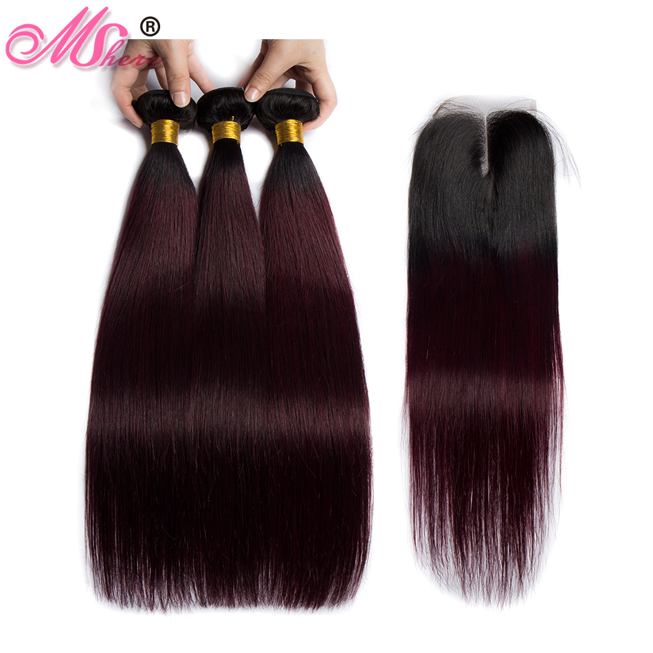 Mshere Straight Ombre Hair 3 Bundles With Closure 1B 99J Dark Root Brazilian Human Hair Weave