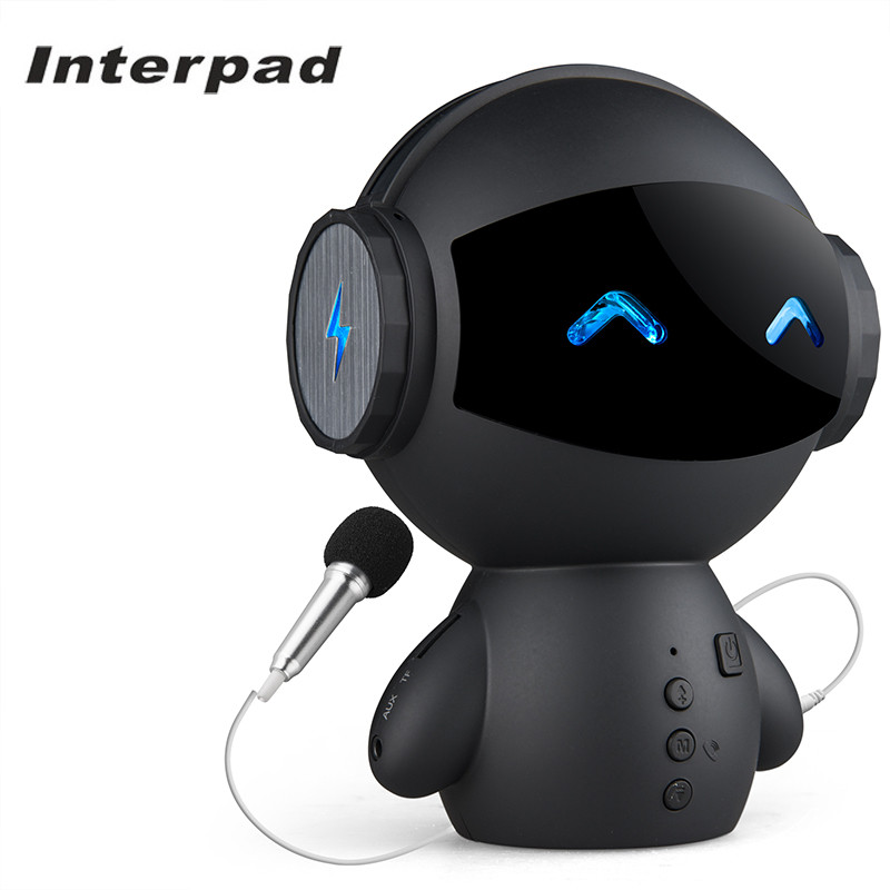 New Interpad Mini Cartoon Robot Bluetooth Speaker Wireless With Stereo Handsfree Power Bank Support AUX TF MP3 Player For Lover newest original xiaomi bluetooth speaker wireless stereo mini portable mp3 player for iphone samsung handsfree support tf aux