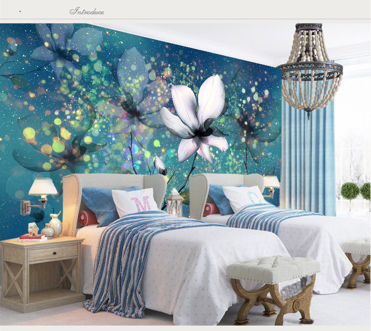 Bacaz 5d papel mural wallpaper blue dreamy flower murals - Flower wallpaper mural ...
