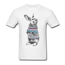 Big Size Bunny With Christmas Sweater Men's Shirt Unique White Short Sleeve Custom Family Tshirts
