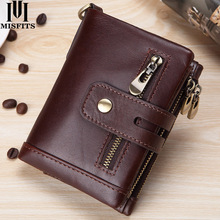 MISFITS new 100% cow leather RFID mens wallet with coin pocket genuine short small zipper purse card holder