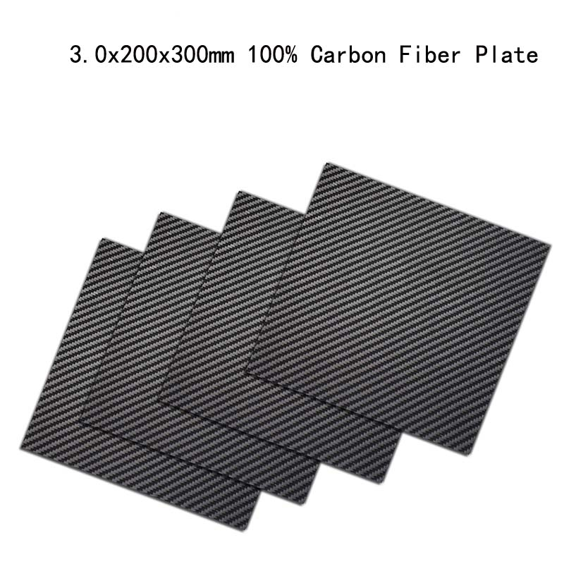 3mm x 200mm x 300mm 100% Carbon Fiber Plate, rigid plate , car board , rc plane plate 100mmx250mmx0 3mm 100% rc carbon fiber plate panel sheet 3k plain weave glossy hot