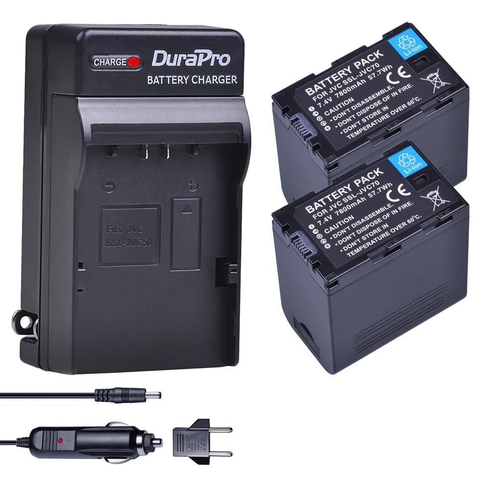 2 pc 7800 mAh SSL-JVC70 SSL JVC70 Batterie & Voiture/Chargeur Mural pour JVC50 70 JVC GY-HM600 GY-HM650 GY-HMQ10 GY-HM200 GY-LS300 Caméra