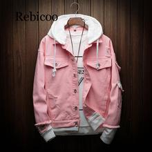 Rebicoo 2019 Men's Autumn Hooded Denim Jacket Denim Jacket Premium Men's Cotton Denim Jacket Fashion Denim Jacket hooded wing embroidery distressed denim jacket
