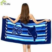 Você e eu super macio e absorvente de microfibra praia towel impresso lavar toalhas 100*180 centímetros golfinho azul dos desenhos animados de algodão toalhas