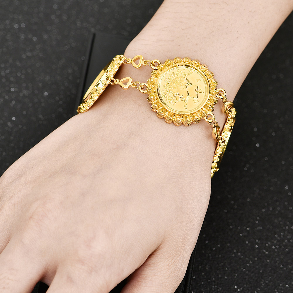 Gold Color Money Coin Bracelet Islamic Muslim Arab Coins Bracelet for Women Men Middle Eastern Allah Jewelry African Gifts