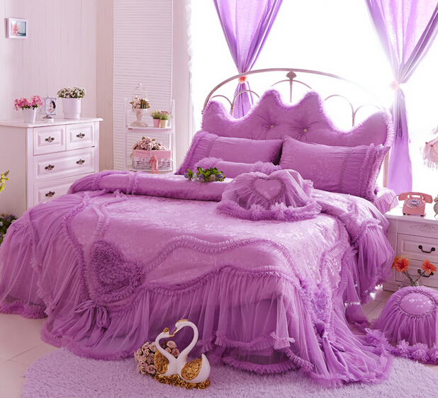 Romantic Ruffle Wedding Bedding Set Girl Twin Full Queen