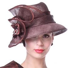 Sombreros de las mujeres Hermosas de Café Sombrero Nuevo Estilo Estampado de flores Elegante de Señora Party Iglesia Vestido de Novia Desgaste Del Partido sombreros de Ala Sombreros