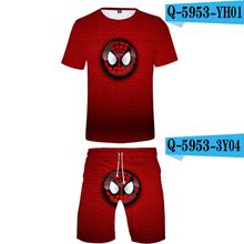 Men Clothes 2019 Summer Sets Tshirt And Short Pants Spiderman Printed Male Suits Causal 3D O-Neck Boys Costumes Kids