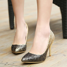 2016 New Fashion Glitter Pointed Toe Thin High Heels Gradual Change Sexy Woman Pumps Leisure Shallow Mouth Ladies Shoes ST178