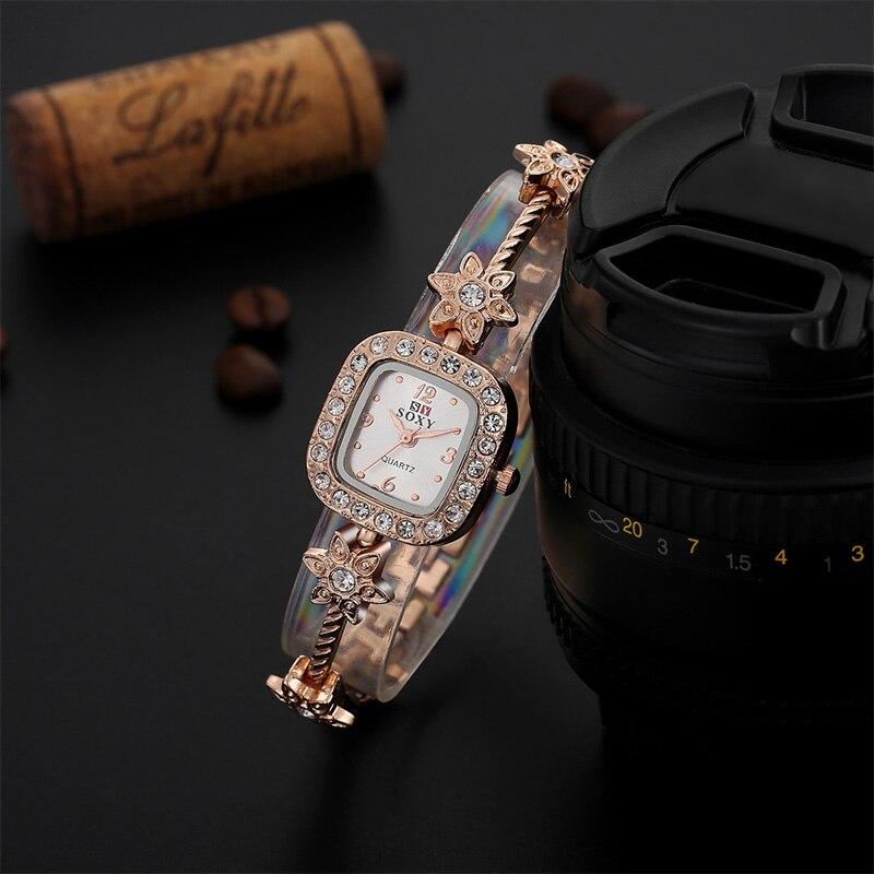 SOXY Fashion Rose Gold Watch Women Watches Luxury Rhinestone Stars Bracelet Watch Ladies Watch Lady Hour Gift relogio feminino