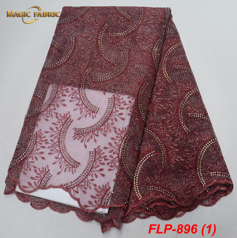 Latest wine color French net lace fabric for wedding dress high quality africn embroidered tulle lace fabric 5yards FLP 896-in Lace from Home & Garden    1