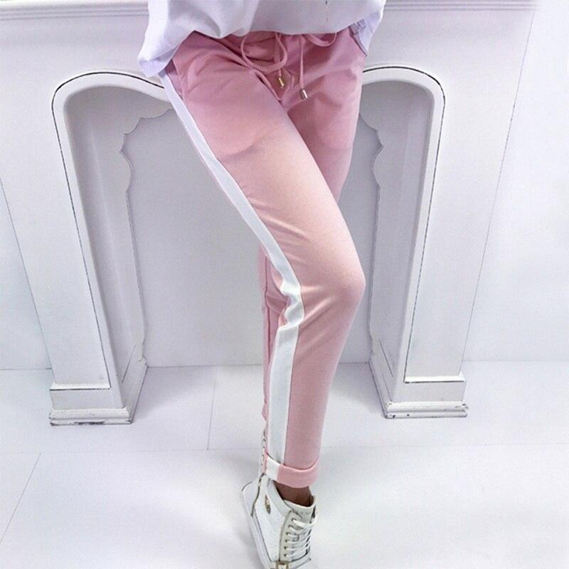 Summer Spring Striped Pencil Pants Women Sweatpants Red Bottoms 2018 Casual High Waist Pant Drawstring Trousers Pantalon Femme
