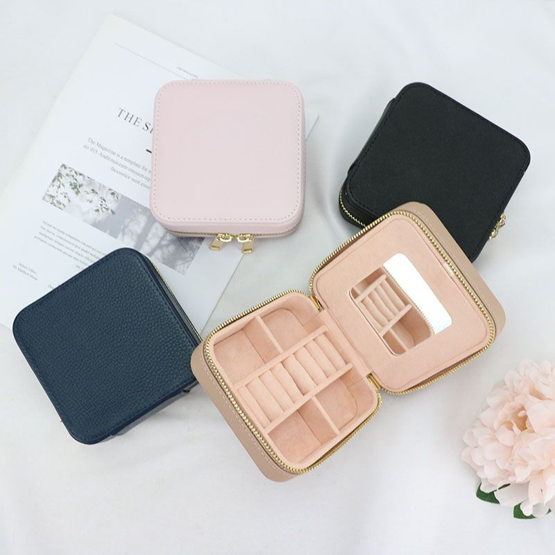 Customized Korean Style Girl Jewelry Box Protable Genuine Leather Earrings Ring Case Multi-function Jewelry Storage Box