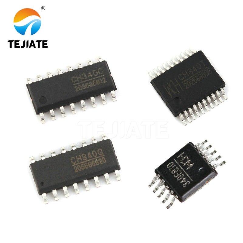 5pcs CH340G CH340C SOP-16 New USB Chip 2.0 CH340T SSOP20  CH340E MSOP10