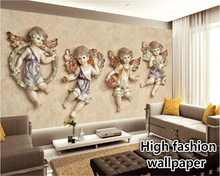 The latest high-definition wallpaper HD European 3D stereo small angel TV bedroom living room background wall papel de parede 3d stereo imitation flexpack pvc wallpaper living room bedroom aisle hotel tv background wall papel de parede r419