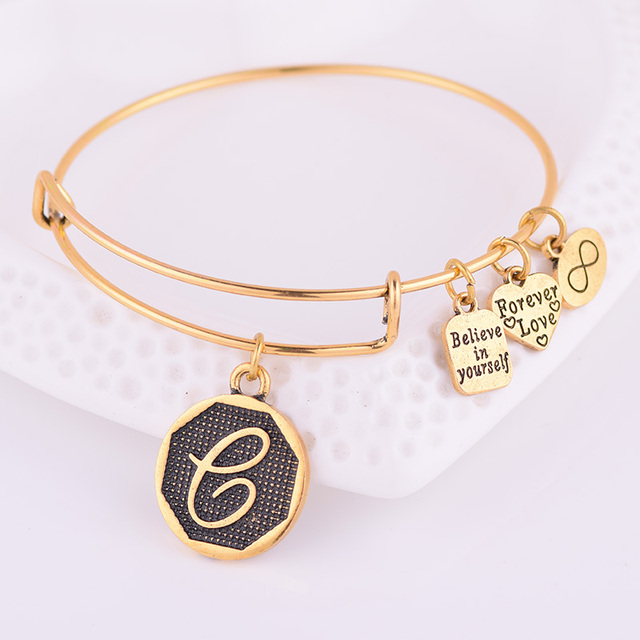 Expandable Bracelet ANCIENT GOLD A-Z Initial Letter American Fashion Charm Alphabet Bracelet Adjustable Wire Wrap Cuff Bangle 4