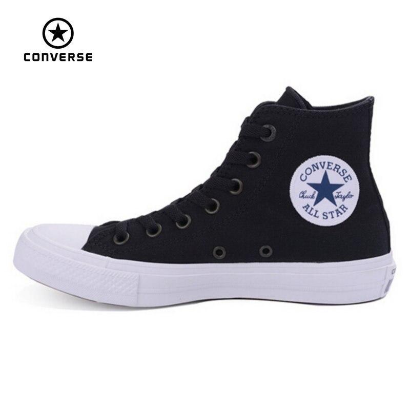 Prix pour Nouveau Converse Chuck Taylor II All Star chaussures unisexe haute sneakers toile bleu noir couleur Planche À Roulettes Chaussures 150143C
