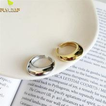 Flyleaf 925 Sterling Silver Rings For Women Curved Surface High Quality Fashion Jewelry Simple Open Ring Gold Femme Ol Style