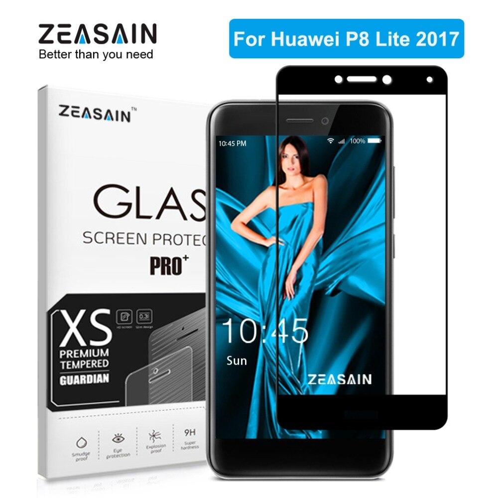 ZEASAIN Original Completa Tampa de Vidro Temperado para Huawei P8 Lite P8Lite 2017 Protetor De Tela 2.5D 9 H Temperado Vidro de Segurança filme
