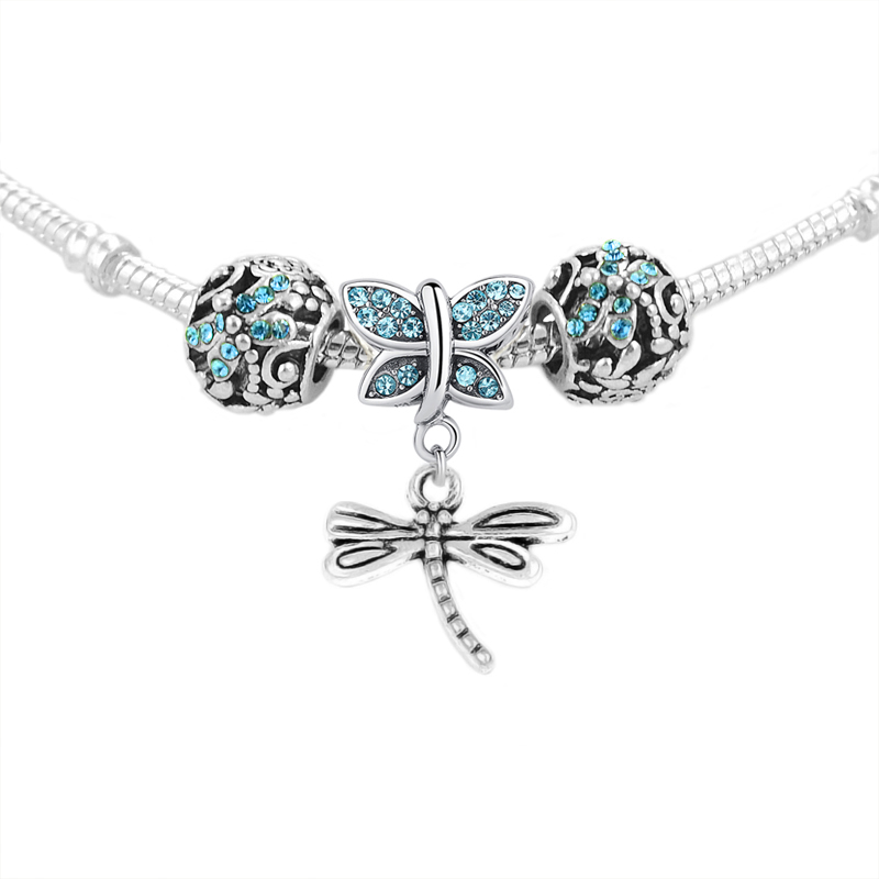 KINGS FAITH 1 Set ,Silver Color Shining Butterfly Dragonfly Pendant Fit pandora Charm Beads Bracelet DIY Jewelry Making ,SPP123
