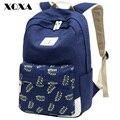 Xqxa chica de moda mochilas escolares para adolescentes lindos de la hoja de impresión mujeres de la lona mochila mochila escolar informal bolso de escuela del morral