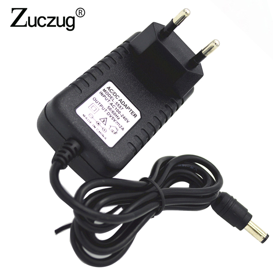 цена на EU Plug Power Adapter 5V 2A AC 100V-240V to DC 5 V 2000mA Converter Transformer Power Supply Charger For LED Strip 5.5mmx2.1mm