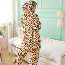 Adultos Conjuntos de Pijama Animal Dos Desenhos Animados Pijamas Cosplay Zipper Mulheres Homens Unisex Inverno Flanela Pijamas Leopardo